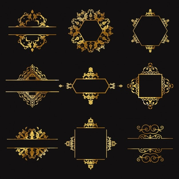 Nine gold ornaments on a black background Free Vector