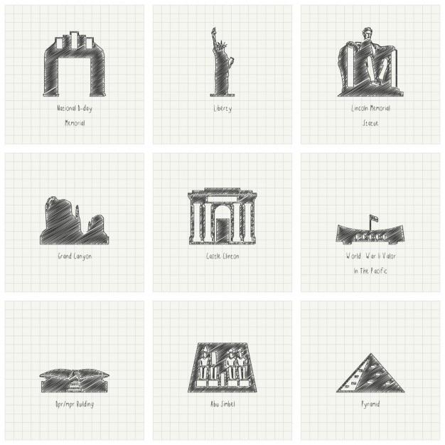 Nine hand drawn monuments Free Vector