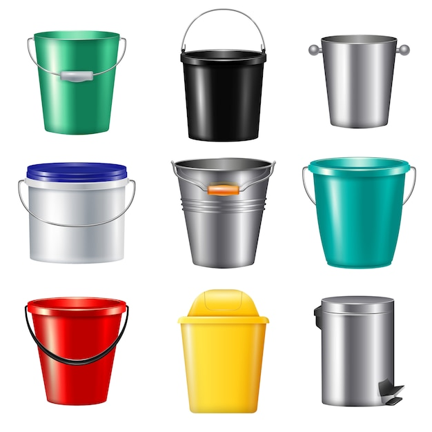 Nine isolated realistic buckets icon set plastic and metallic for different needs  illustration Free Vector