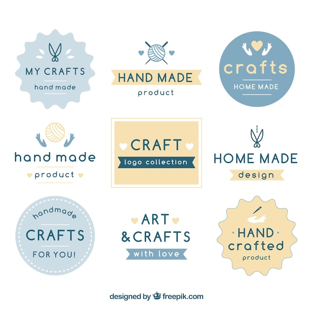 Nine logos for crafts Free Vector