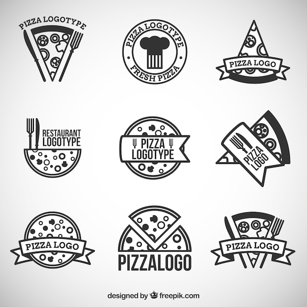 Nine logos for pizza Free Vector