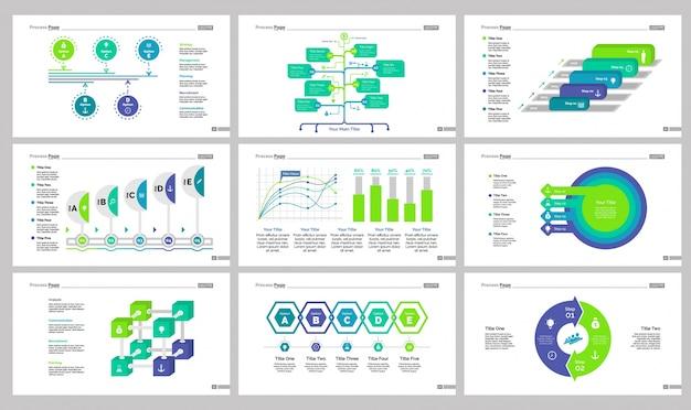 Nine management slide templates set Free Vector