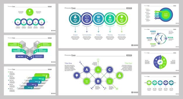 Девять маркетинговых шаблонов слайдов Бесплатные векторы