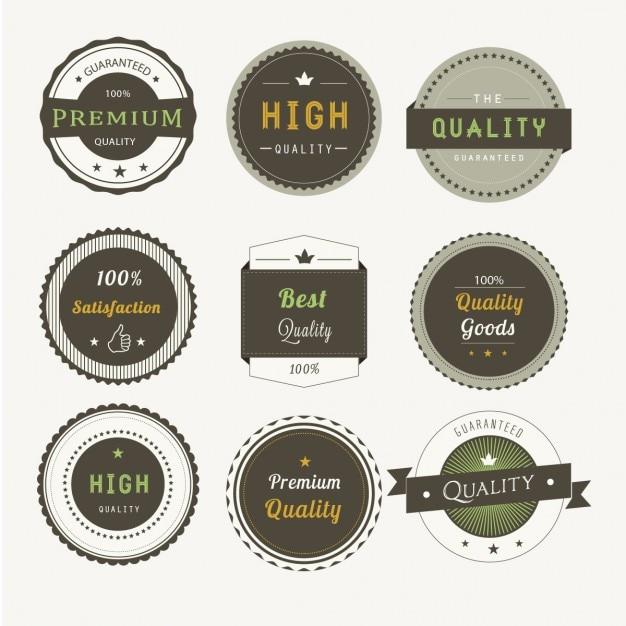 Nine premium badges Free Vector