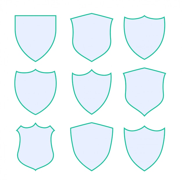 Nine protection shield with green border Free Vector