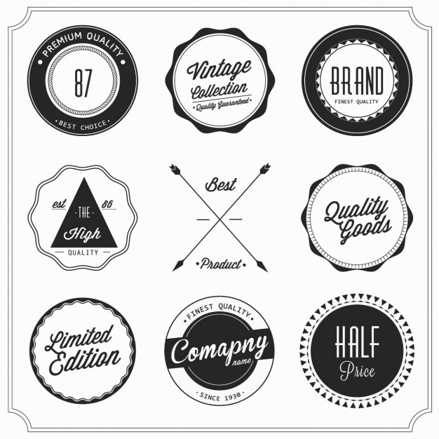 Nine retro badges Free Vector