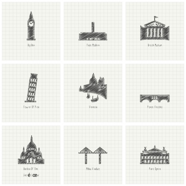 Nine sketches of monuments Free Vector