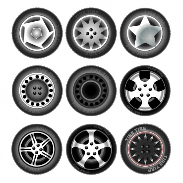 Nine tires Free Vector