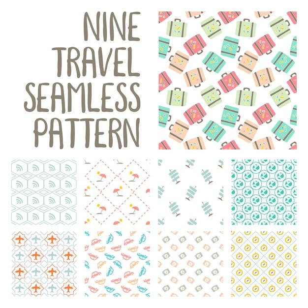 Nine travel seamless pattern illustration on pack vector Premium Vector