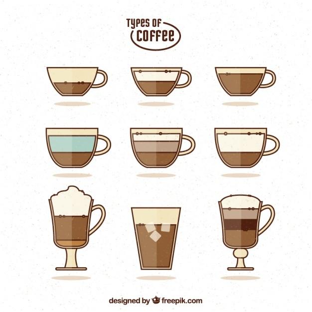 Nine types of coffee, flat style