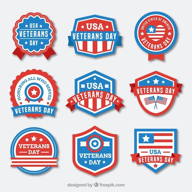 Nine veterans day labels