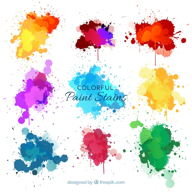 Nine watercolor splashes Free Vector