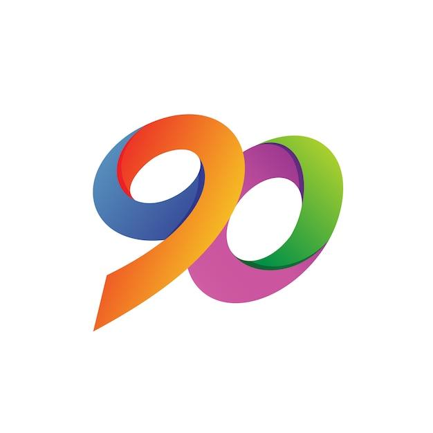 Ninety logo vector Premium Vector