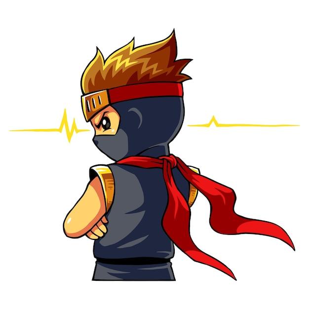 Ninja boy alert instinct mode. Premium Vector