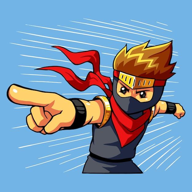 Ninja boy attack command. Premium Vector