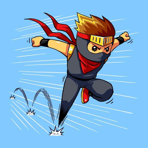 Ninja boy quick dash. Premium Vector