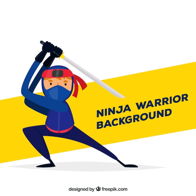 Ninja character background with flat\ design