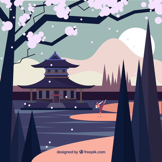 Ninja character background with flat design Free Vector