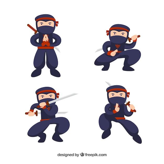 Коллекция персонажей ниндзя в разных позах Бесплатные векторы
