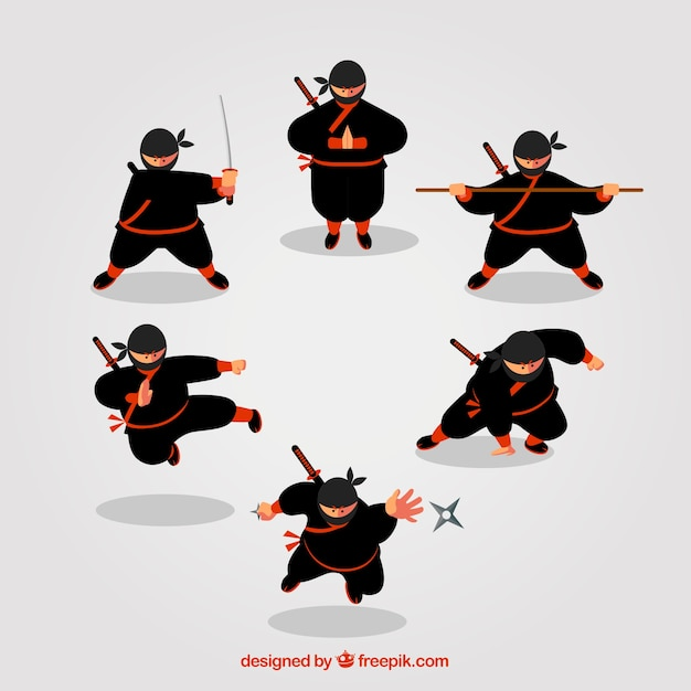 Ninja character collection of six Free Vector