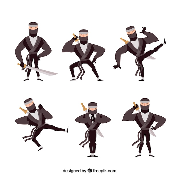Ninja character collection with flat\ design