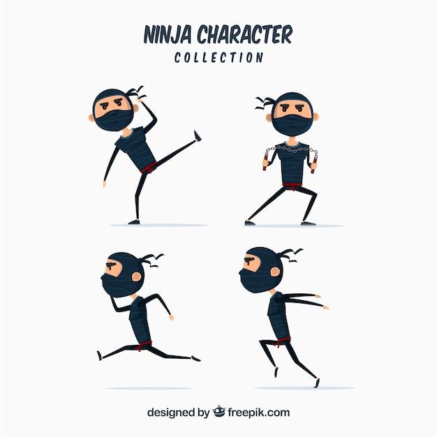 Коллекция персонажей ниндзя Бесплатные векторы