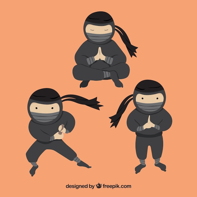 Ninja character collection Free Vector