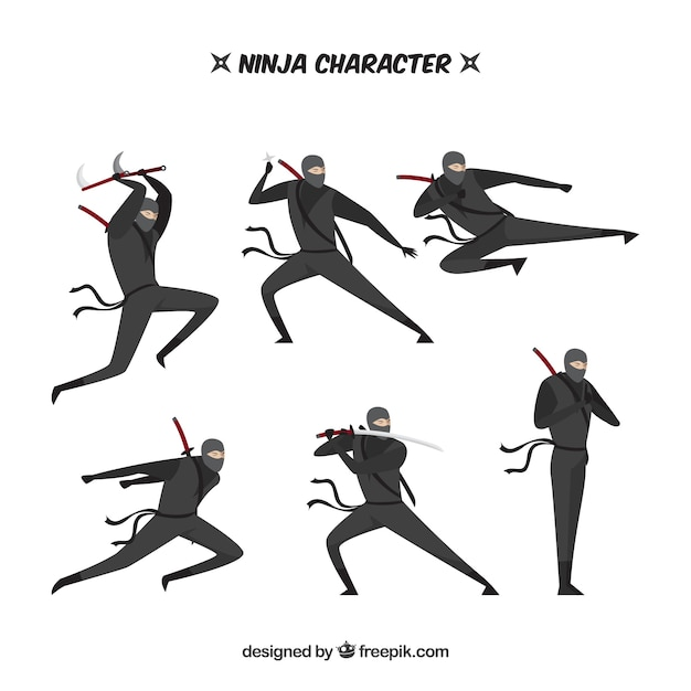 Ninja character in different poses with flat design Free Vector