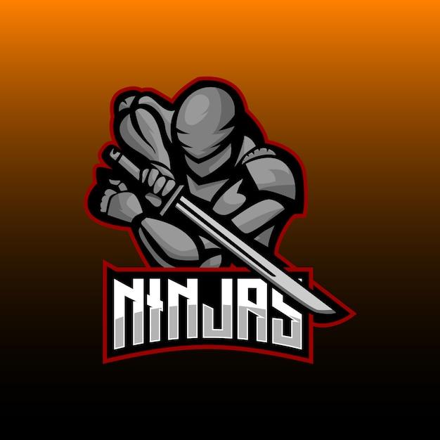 Ninja eスポーツロゴゲーミングマスコット Premiumベクター