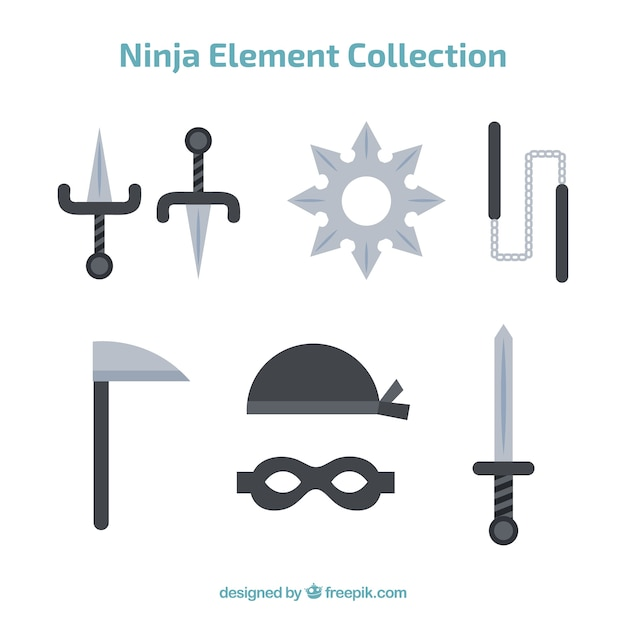 Ninja element collection with flat design Free Vector