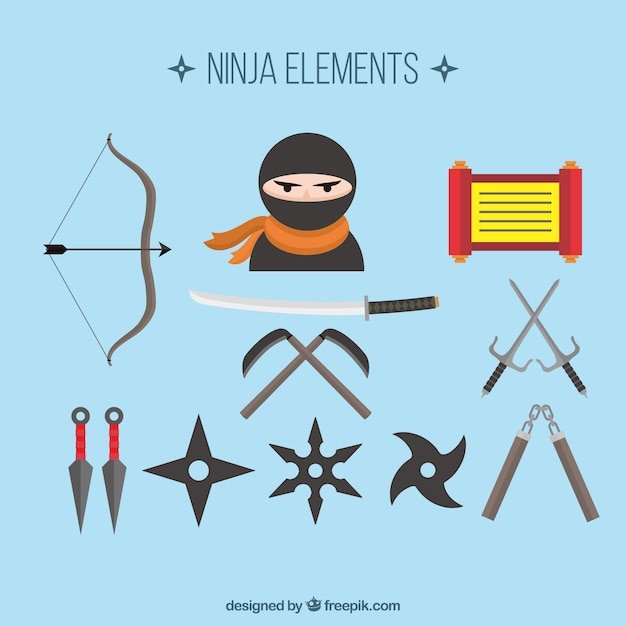 Ninja element collection with flat design Premium Vector