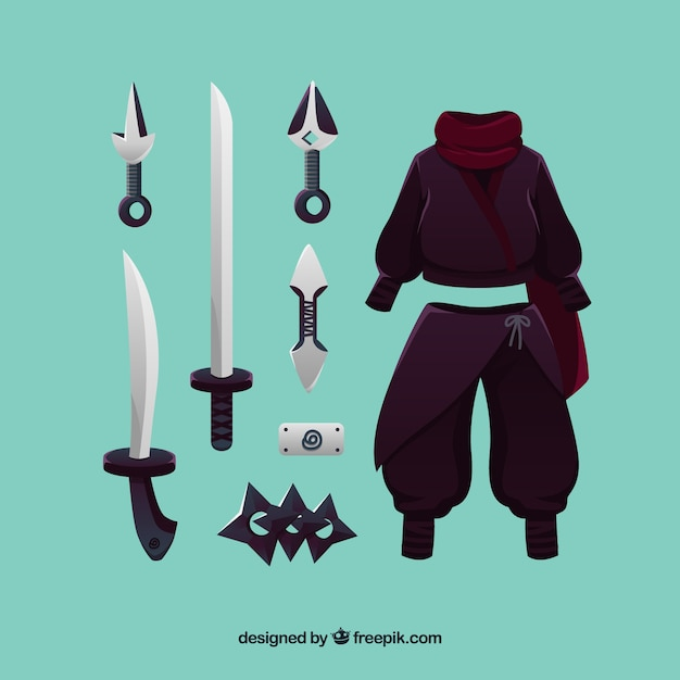 Ninja element collection with flat\ design