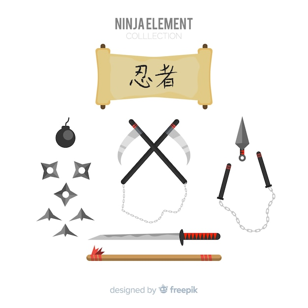Collezione di elementi ninja Vettore gratuito