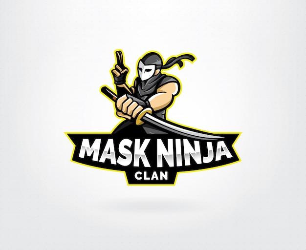 Ninja esports mascot logo design Premium Vector