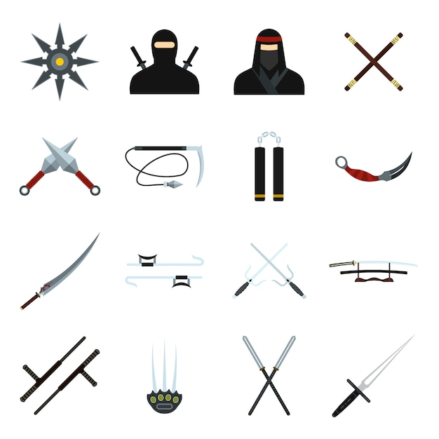 Ninja flat elements set for web and mobile devices Premium Vector