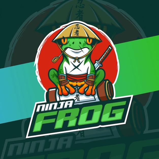 Ninja frog mascot esport logo design Premium Vector