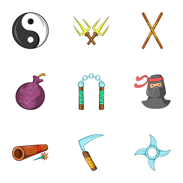 Ninja icons set, cartoon style Premium Vector
