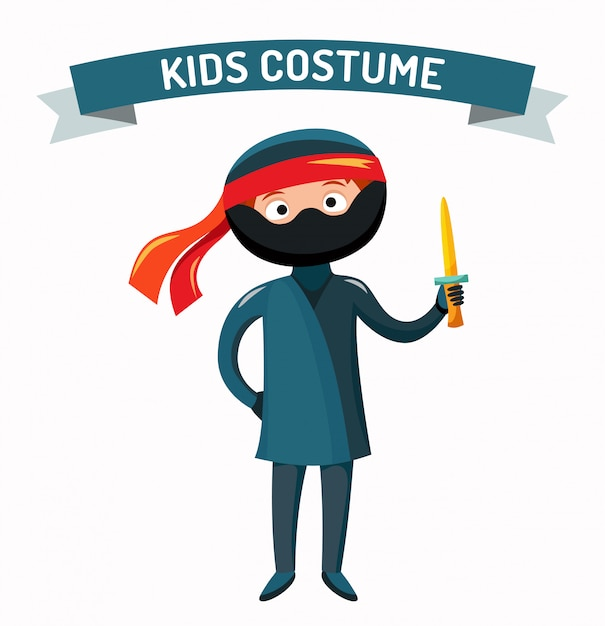 Ninja kid costume isolated vector illustration Premium Vector