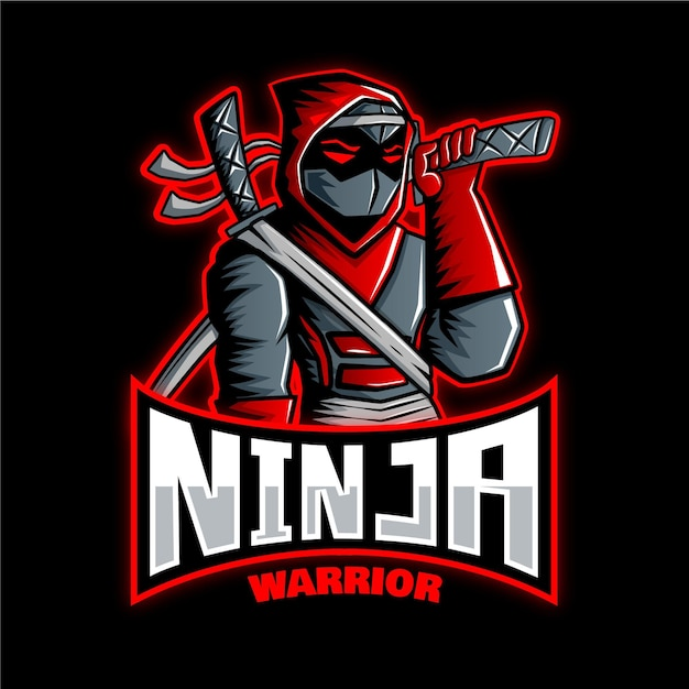 Ninja logo template with details Free Vector