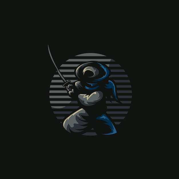 Ninja samurai illustration esports logo Premium Vector