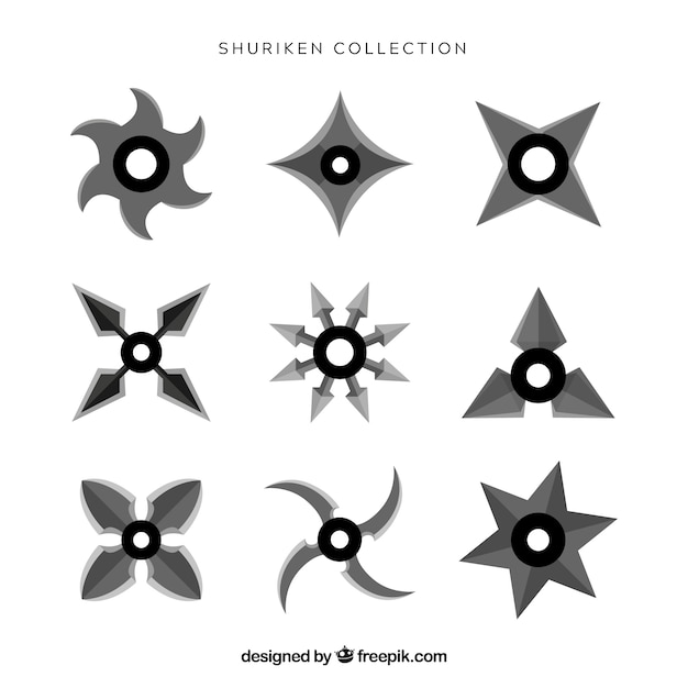 Ninja star collection with flat design Free Vector
