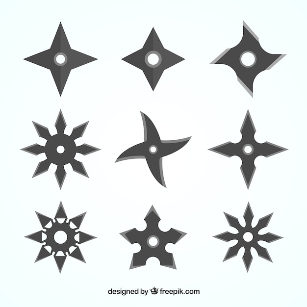 Ninja star collection with flat design Premium Vector