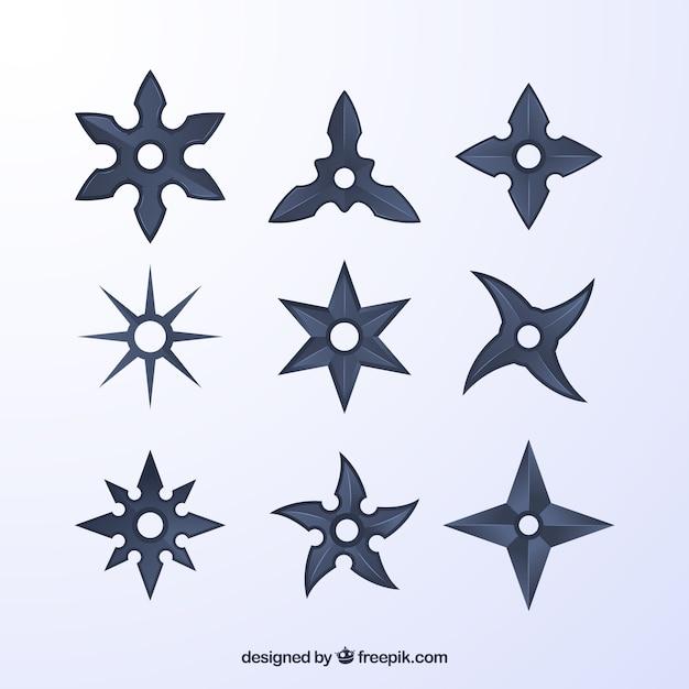 Коллекция звезд ниндзя в сером цвете Бесплатные векторы