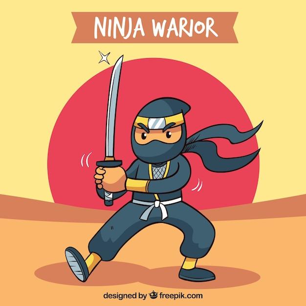 Sfondo guerriero ninja in design piatto Vettore gratuito