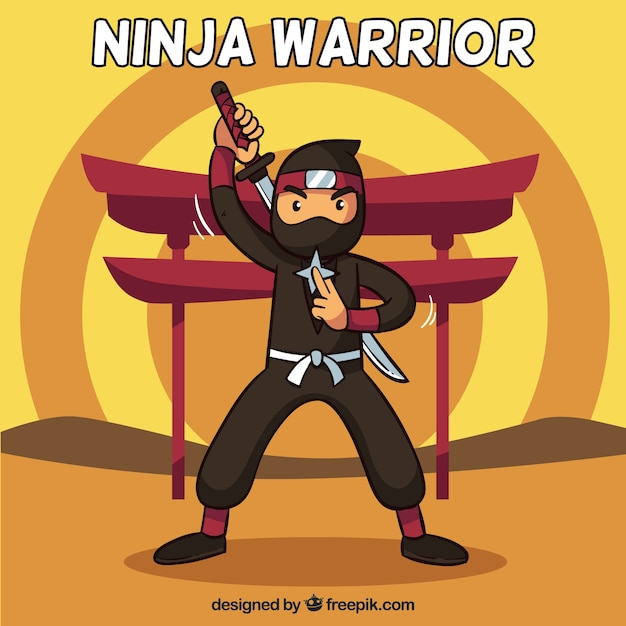 Ninja warrior background in flat design Free Vector
