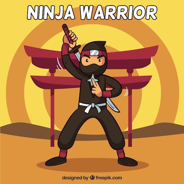 Ninja warrior background in flat design