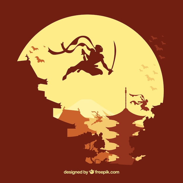 Ninja warrior background with flat design Free Vector