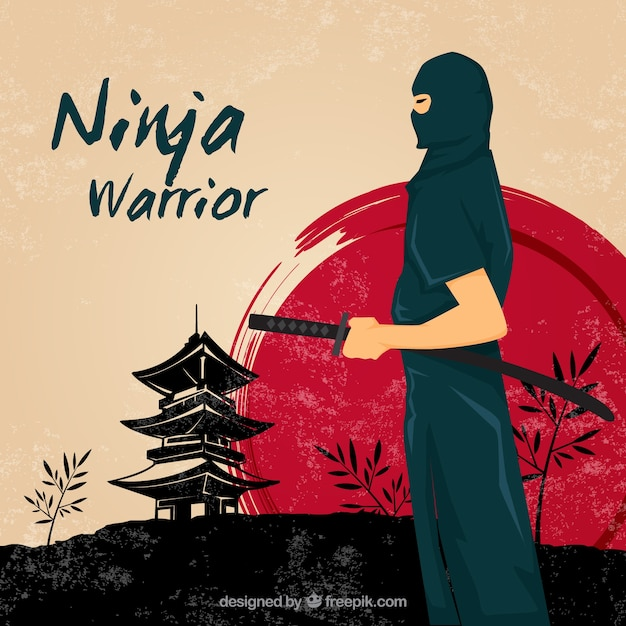 Ninja warrior background Free Vector