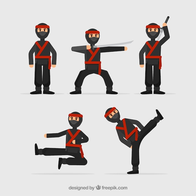 Ninja warrior character collection with flat\ design