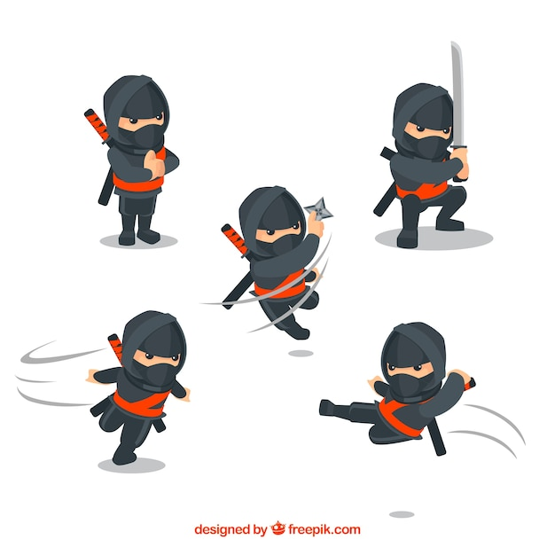 Коллекция персонажей воинов ниндзя с плоским дизайном Бесплатные векторы